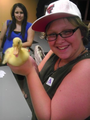 Shelby and a duck